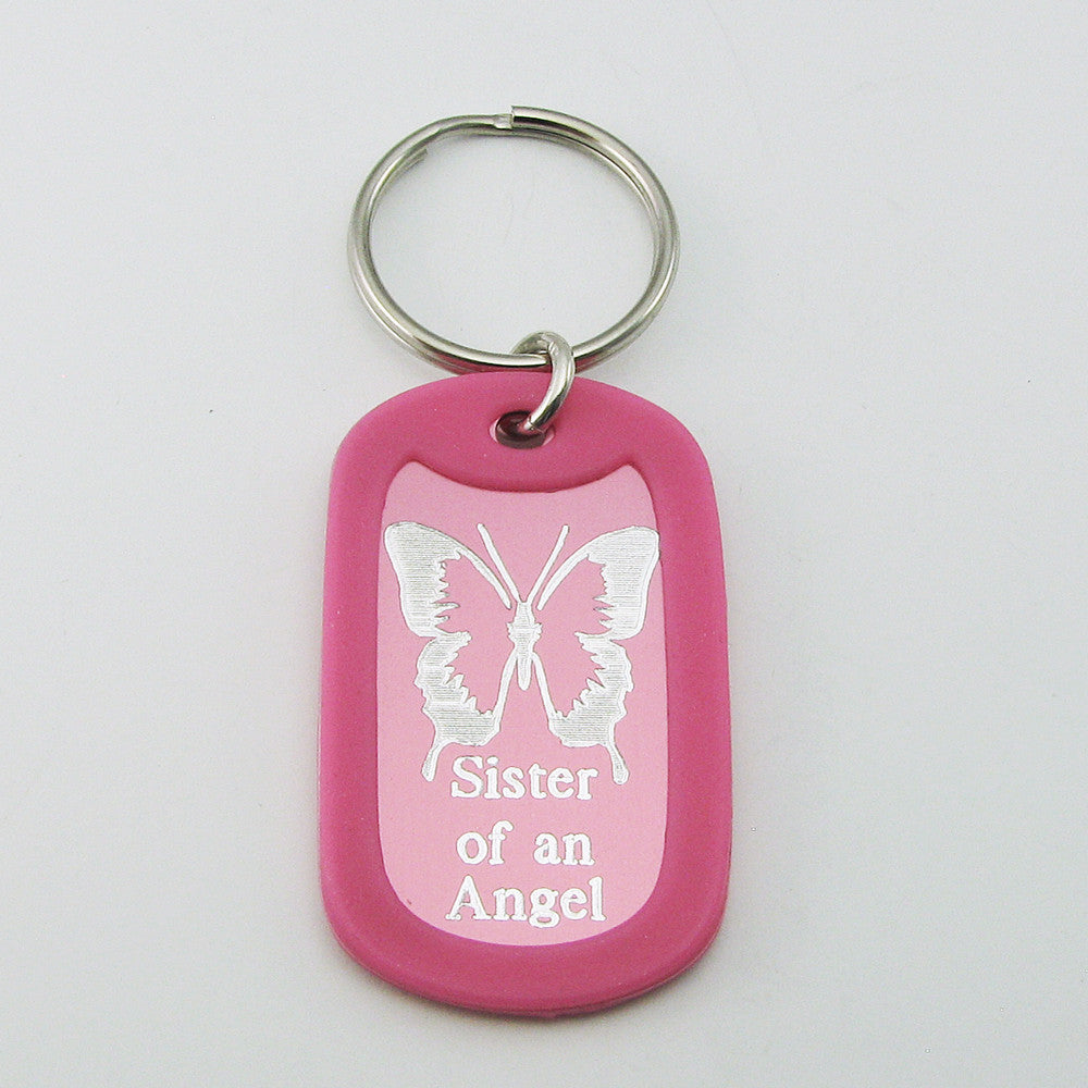 Sister of an Angel- Butterfly pink aluminum dog tag pendant memorial keychain