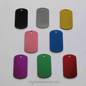 Colors of Aluminum Dog Tag Pendants available