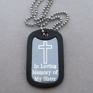 In Memory of My Sister- Simple Cross Silver Aluminum Dog Tag Pendant Memorial Necklace