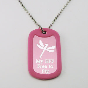 Best Friends- Dragonfly pink aluminum dog tag pendant memorial necklace