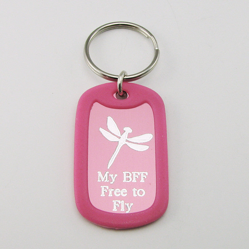 Best Friends- Dragonfly pink aluminum dog tag pendant memorial keychain
