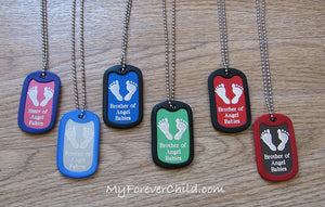 Brother & Sister of Angel Babies- Baby Footprints colored aluminum dog tag pendant memorial necklace