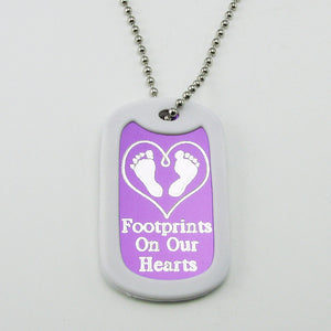 Baby Footprints on our Hearts- purple aluminum dog tag pendant memorial necklace