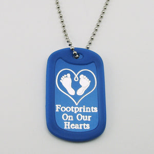 Baby Footprints on our Hearts- blue aluminum dog tag pendant memorial necklace