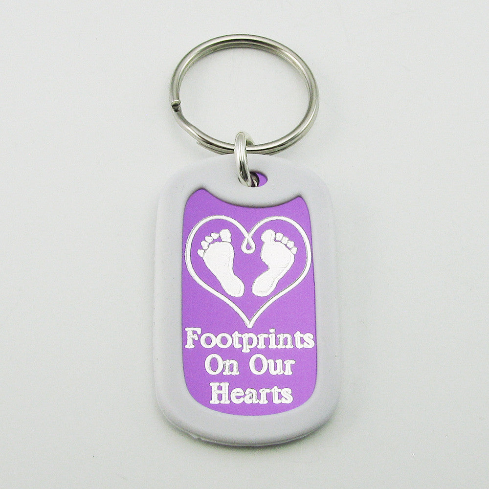 Baby Footprints on our Hearts- purple aluminum dog tag pendant memorial keychain