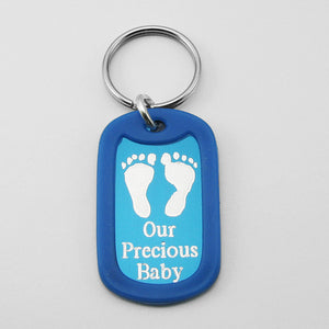 Our Precious Baby- Baby Footprints blue aluminum dog tag pendant memorial keychain
