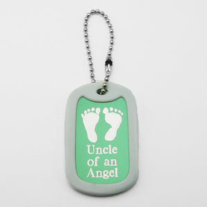 Uncle of an Angel- Baby Footprints blue aluminum dog tag pendant memorial keychain