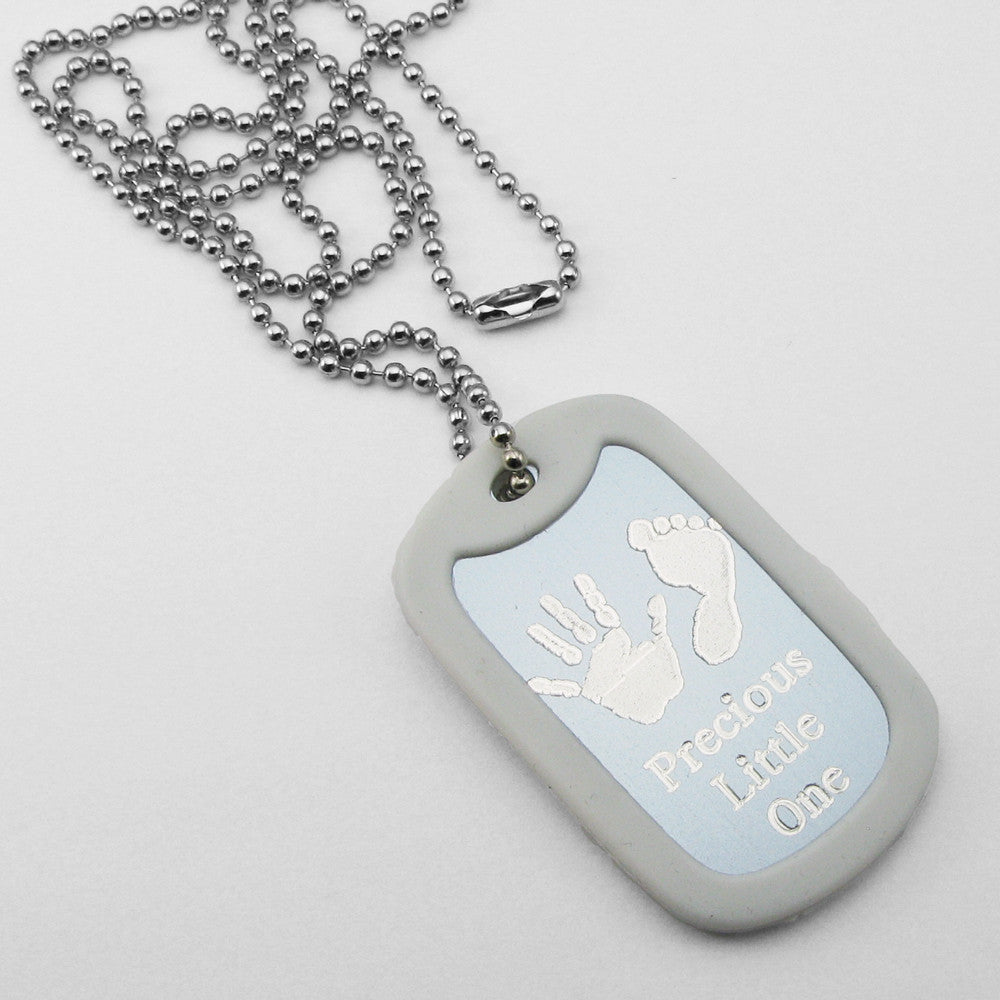 Precious Little One- Baby Footprints silver aluminum dog tag pendant memorial necklace