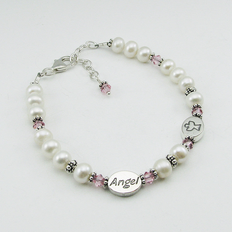 Memorial Two Angels Bracelet- Freshwater Pearl and Pink Swarovski Crystal