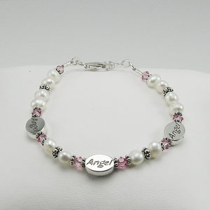 Memorial Three Angels Bracelet- Freshwater Pearl and Pink Swarovski Crystal