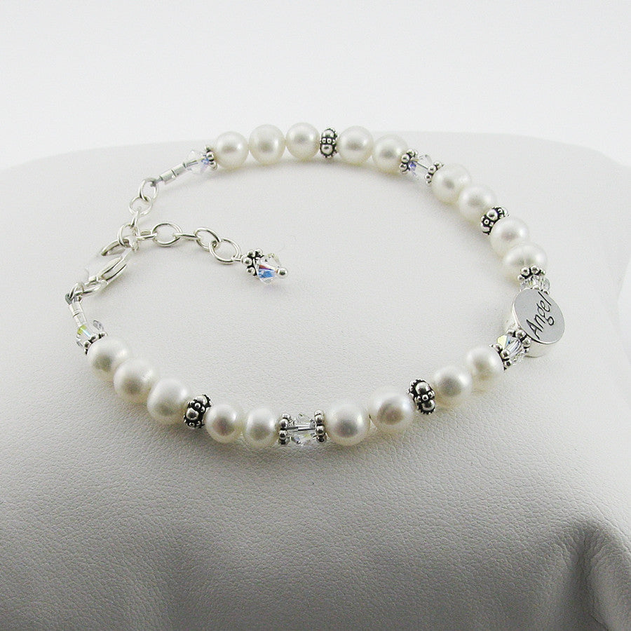 Memorial Angel Bracelet- Freshwater Pearl and Clear Swarovski Crystal