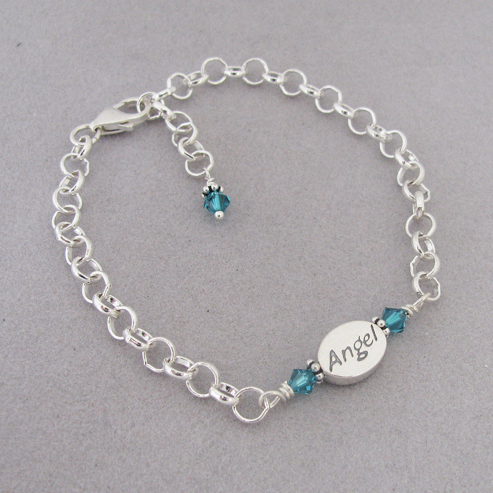 Memorial Angel Bracelet- Sterling Silver and Emerald Swarovski Crystal