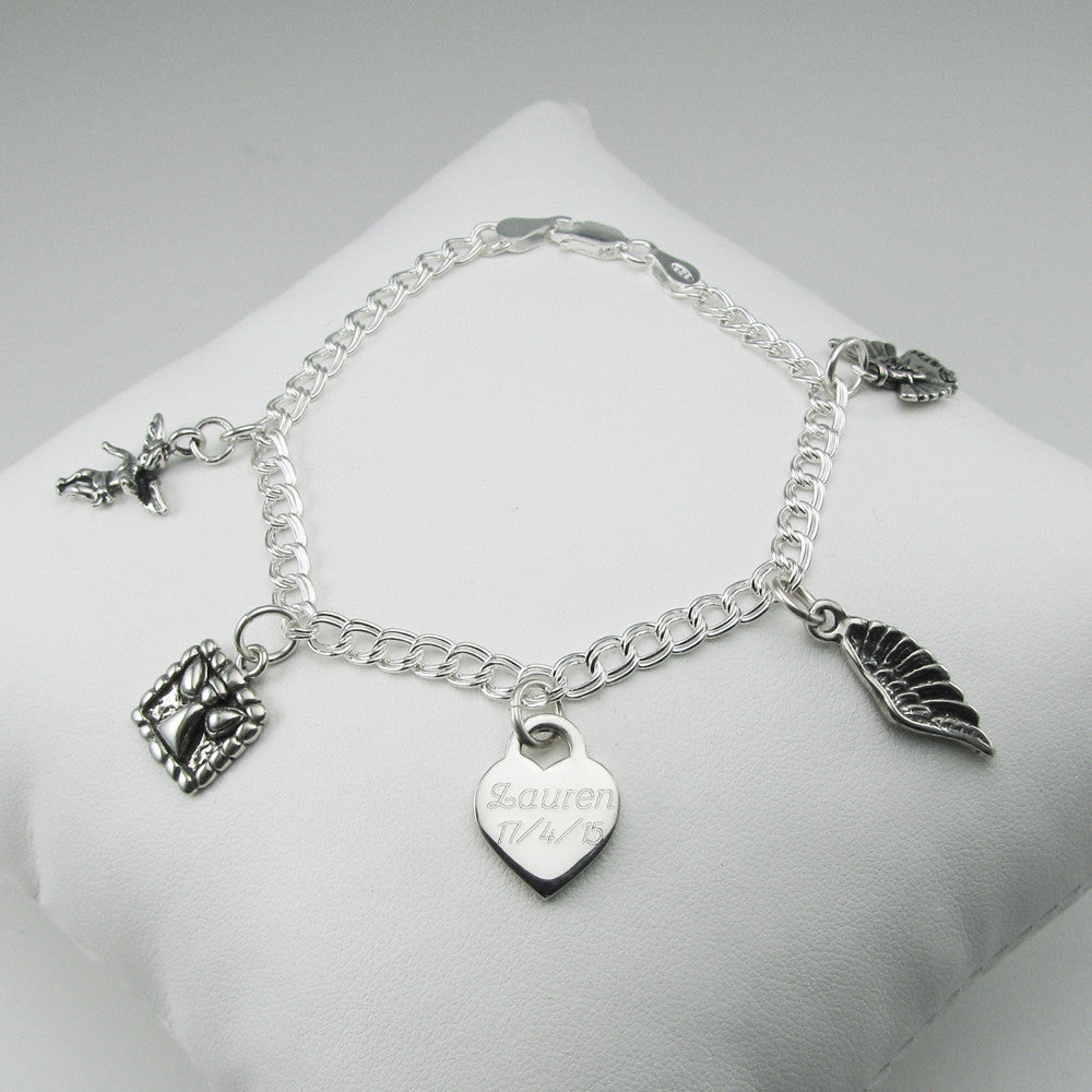 Angel Sterling Charm Memorial Bracelet for loss of baby, child or sibling
