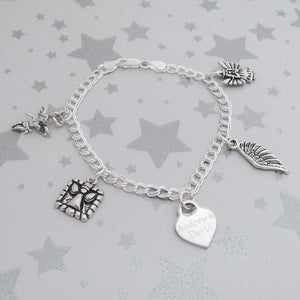 Angel Sterling Charm Memorial Bracelet for loss of twin boys