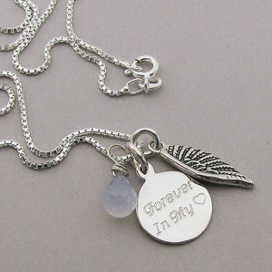 Personalized Angel Wing Charm Memorial Necklace- Blue Chalcedony | Sterling Silver