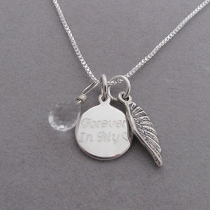 Personalized Angel Wing Charm Memorial Necklace- shown with Clear Quartz briolette gemstone to represent your Angel