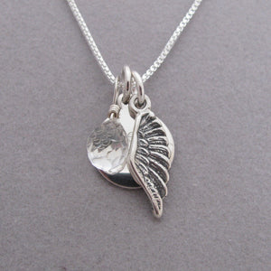 Personalized Angel Wing Charm Memorial Necklace- shown with Clear Quartz briolette gemstone to represent the Angel in your heart