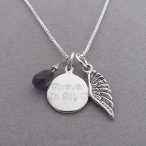 Personalized Angel Wing Charm Memorial Necklace- Cursive Font with purple Amethyst briolette gemstone for Remembrance