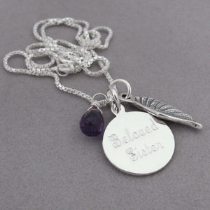 Beloved Sister Angel Wing Charm Memorial Necklace- Script Font with purple Amethyst briolette gemstone for Remembrance