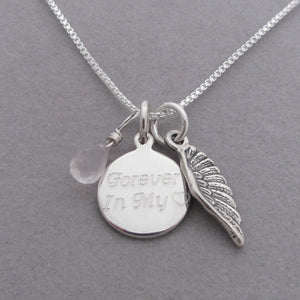 Personalized Angel Wing Charm Memorial Necklace- shown with light pink Rose Quartz briolette gemstone for Healing