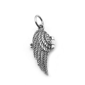 Sterling Silver Angel Wings Prayer Box Charm
