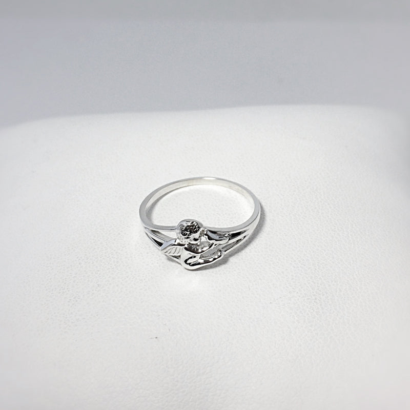 Adorable baby angel cherub holding a dove. Sterling Silver ring for miscarriage, stillbirth, pregnancy & infant loss, loss of baby