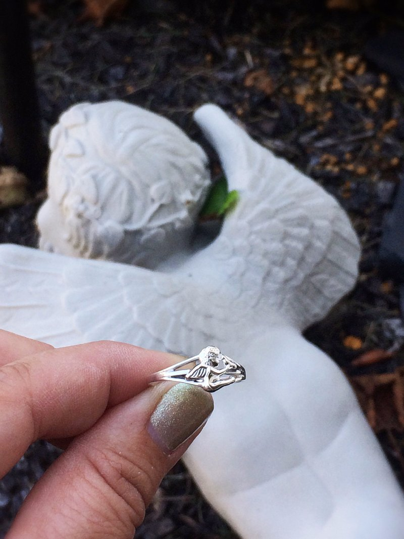 Baby Angel With Dove Sterling Silver Infant Loss Ring