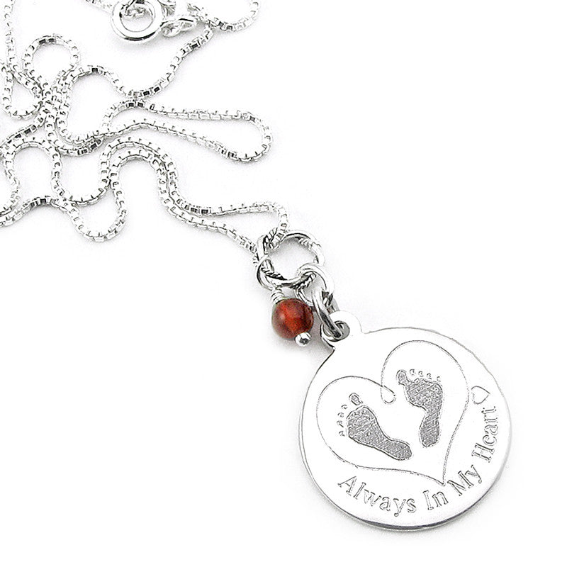 Baby footprints in my heart silver necklace for miscarriage baby always in my heart baby footprints in my heart necklace remembrance jewelry for miscarriage aloadofball Choice Image