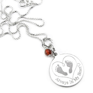 Always In My Heart- Baby Footprints In My Heart Necklace | Remembrance jewelry for miscarriage, stillbirth, infant loss