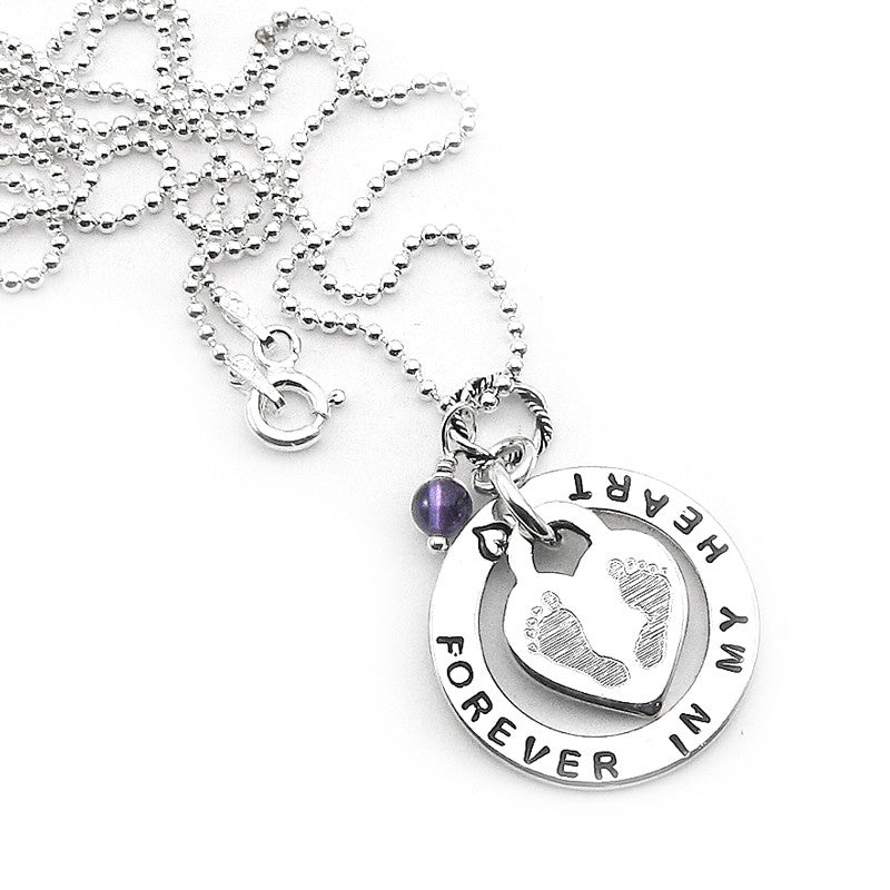 Baby footprint disk necklace miscarriagestillbirthbaby infant beadedball chain necklace sterling silver miscarriage infant loss memorial jewelry my aloadofball Choice Image
