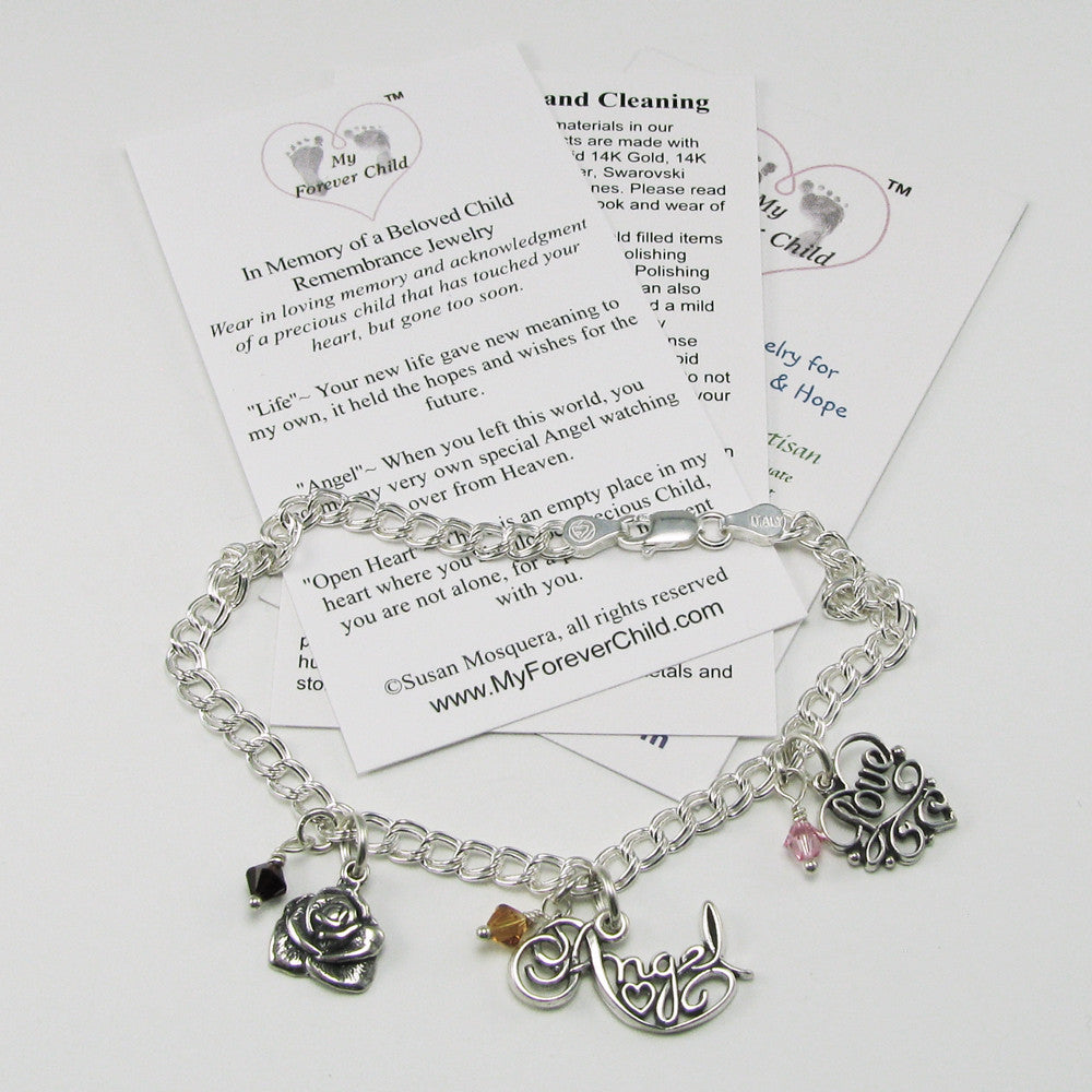 In Memory of a Beloved Child Remembrance Charm Bracelet | Memorial Jewelry | My Forever Child