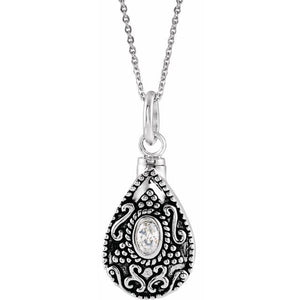 Sterling Silver Oval Birthstone Teardrop Cremation Necklace | April Birthstone
