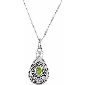 Sterling Silver Oval Birthstone Teardrop Cremation Necklace | August Birthstone