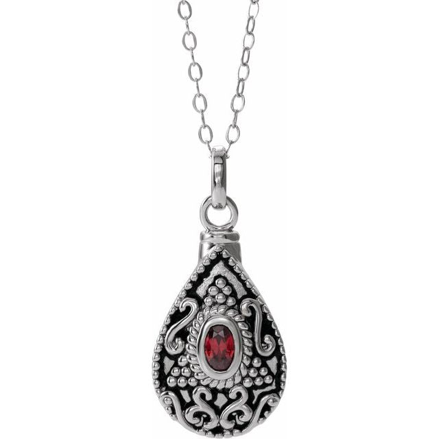 Birthstone Teardrop Cremation Necklace | Sterling Silver