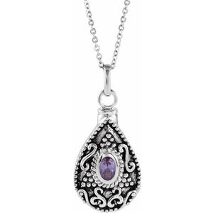 Sterling Silver Oval Birthstone Teardrop Cremation Necklace | June Birthstone