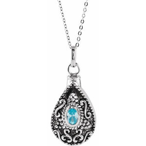 Sterling Silver Oval Birthstone Teardrop Cremation Necklace | March Birthstone