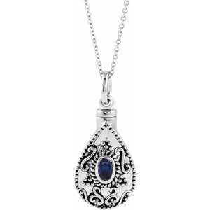 Sterling Silver Oval Birthstone Teardrop Cremation Necklace | September Birthstone