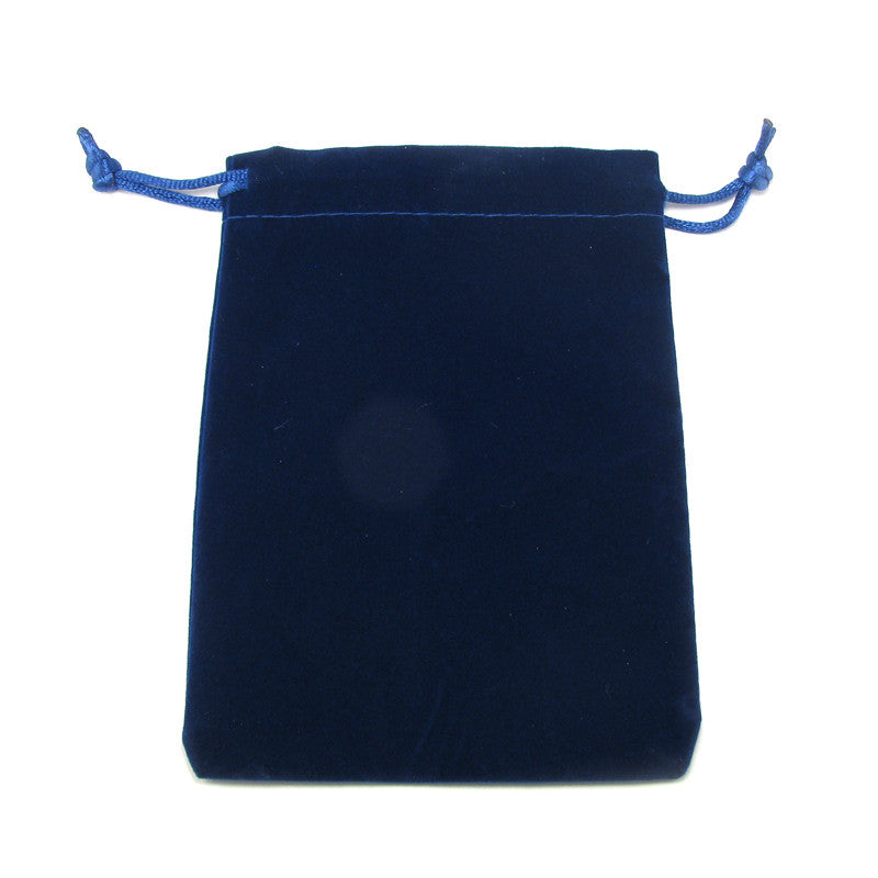Navy Blue Velveteen Jewelry Pouch