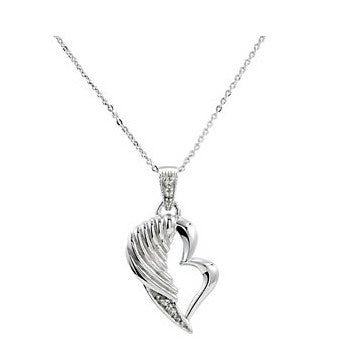 Broken Wing Heart Memorial Necklace | Sterling Silver