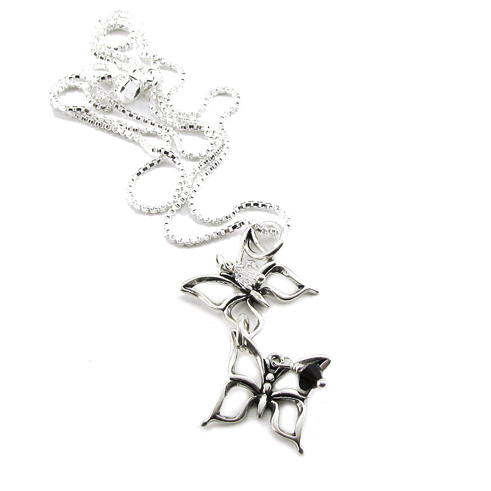 Twin Miscarriage Jewelry, Two Butterfly Sterling Silver Necklace to symbolize twin loss or multiple miscarriages