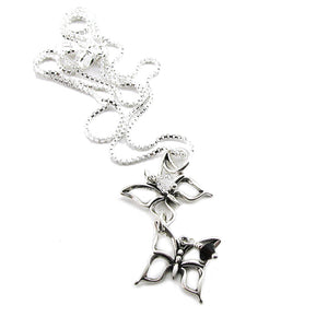 Miscarriage Twin Loss Memorial Sterling Silver 2 Butterfly Necklace