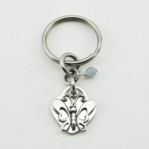 Sterling Silver Personalized Butterfly Keychain for loss of a child, sibling, parent, friend