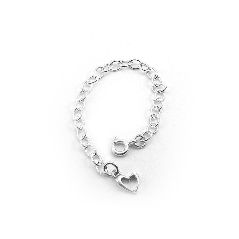 Cable Chain Extender with Heart Charm | Sterling Silver