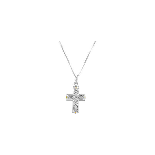 Checkerboard Cross Cremation Necklace | Sterling Silver
