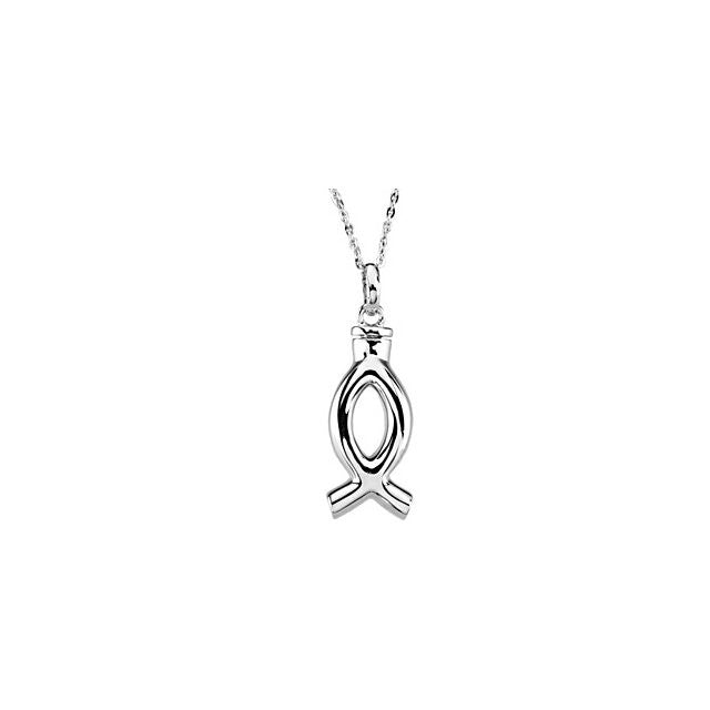 Christian Fish Ichthys Cremation Necklace | Sterling Silver