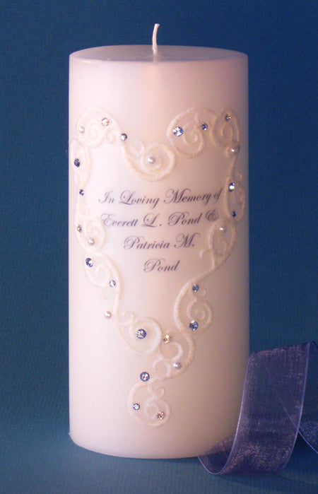 Lace Heart Personalized Memorial Candle | Clear Swarovski Crystals
