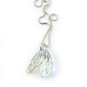 Crystal Butterfly Wing Necklace | Sterling Silver