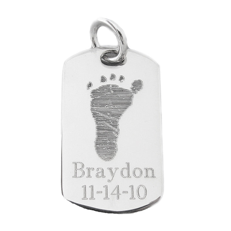 Your baby's, child's, or loved one's actual footprint image custom engraved on a sterling silver dog tag pendant