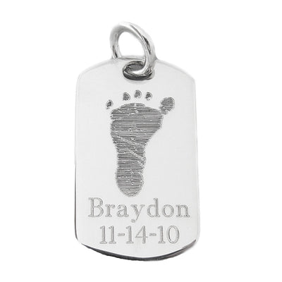 Actual handprint footprint jewelry sterling silver dog tag pendant actual handprint footprint jewelry sterling silver dog tag pendant my forever child aloadofball Images