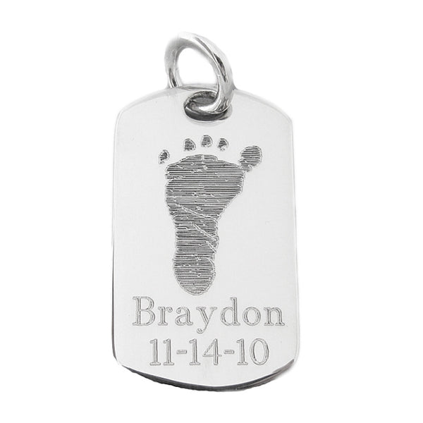 59c2456c2afbb Custom Engraved Actual Handprints and Footprints Jewelry | Dog Tag Small  Pendant- Sterling Silver